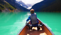 Canoeing on Lake Louise in Banff National Park in Canada